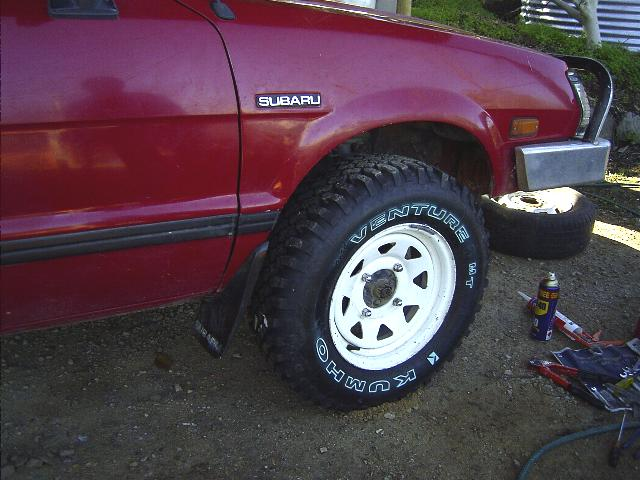 The after product. Neat fender trimming on a Brumby. Fender trimming a Subaru Brat or Brumby